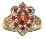 JCPenney FINE JEWELRY LIMITED QUANTITIES Genuine Brown Zircon and Lead Glass-Filled Hot Pink Ruby Flower Ring