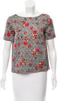 Oscar de la Renta Wool Floral Patterned Top