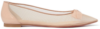 Christian Louboutin Follies Bow-detailed Mesh And Patent-leather Point-toe Flats