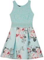 BCX Lace-Bodice Floral-Print Dress, Big Girls