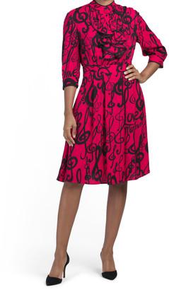 Jabot Printed Dress