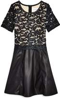 Us Angels Girls' Lace & Faux-Leather Dress - Big Kid