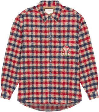 Gucci Long Sleeve Button Down in Beige & Blue & Red & Mix | FWRD