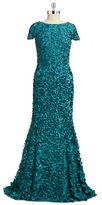 Theia Cap Sleeve Petal Gown