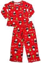 Sara's Prints Little Girls Long Sleeve HoHoHo Santa Ruffle Pajamas, Red8009