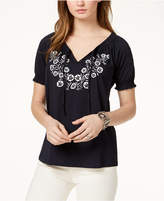Tommy Hilfiger Embroidered Split-Neck Top