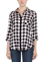 C&C California Black Plaid Flannel Tunic Top.