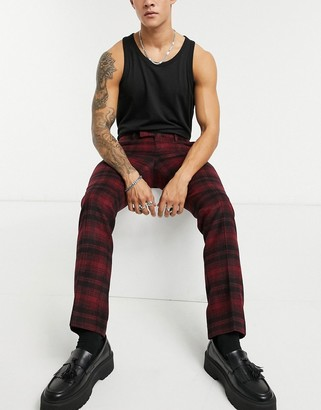 Twisted Tailor suit pants in red tartan check