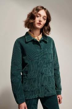 Le Mont St Michel Forest Green Corduroy Valentine Work Jacket - cotton | forest green | 40 - Forest green