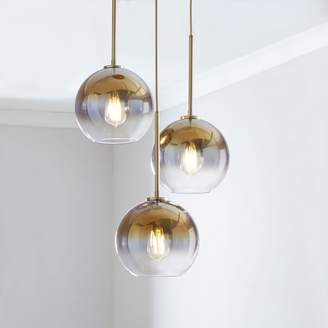"west elm Sculptural Glass 3-Light Globe Chandelier - Metallic Ombre (16"")"