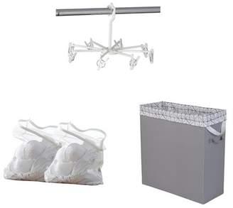 Neatfreak Fabric Laundry Hamper, 8 Pack Hanging Peg Clips & 2 Pack Lingerie Mesh Laundry Bags Bundle