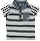 Bob Der Bar Striped Chambray-Trim Polo