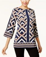 JM Collection Embellished Printed Boat-Neck Tunic, Created for Macy's