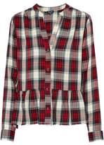 Splendid Checked Flannel Peplum Shirt