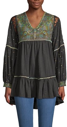 Free People Much Love Embroidered Cotton Tunic