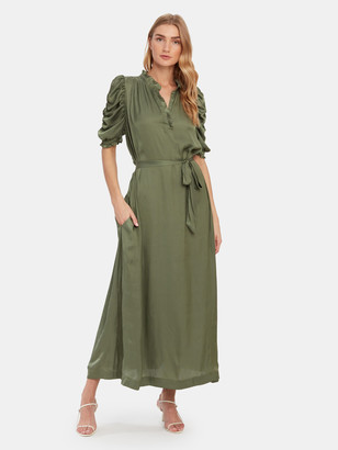 Zadig & Voltaire Ray Satin Puff Sleeve Maxi Dress