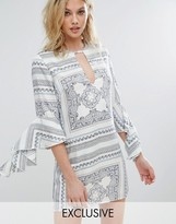 Missguided Scarf Print Frill Sleeve Dress