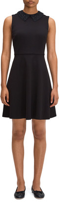 Kate Spade Laced Collar Ponte Fit-And-Flare Dress