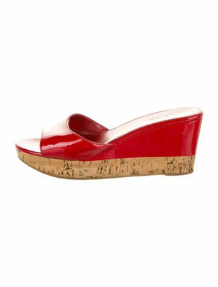 Prada Patent Leather Slides Red