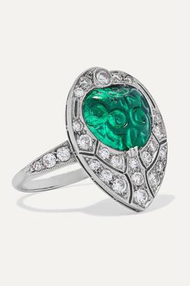 Fred Leighton 1920s Platinum, Emerald And Diamond Ring - White gold
