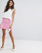 MANGO Leather Look Frill Skirt
