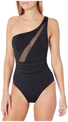 La Blanca Mesh-Merizing Mesh Front Draped One Shoulder Mio One-Piece (Black) Women's Swimsuits One Piece