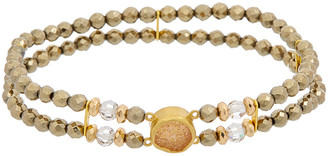 Chan Luu 18K Over Silver Gemstone & Swarovski Crystal Stretch Bracelet