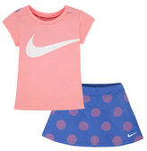Nike Dot Printed Two-Piece Tee and Scooter Skirt Set