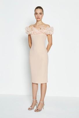 Coast Organza Ruffle Scuba Bardot Dress