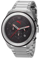 Puma Edge Unisex Quartz Watch with Black Dial Chronograph Display and Silver Stainless Steel Bracelet PU102911001