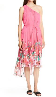 Ted Baker Pinata Floral Pleated Asymmetrical One Shoulder Dress