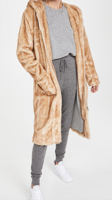 AVEC LES FILLES Faux Mink Hoodie Coat