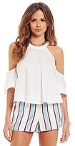 Gianni Bini Chiara Cold-Shoulder Ruffled Bell Sleeve Blouse