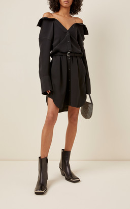 Alexander Wang Shrugged Off Silk Mini Shirt Dress