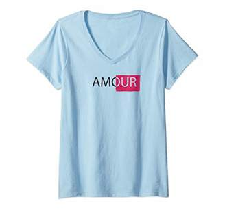 Womens Mon amour love paris t-shirt V-Neck T-Shirt