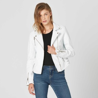 DSTLD Womens Leather Moto Jacket in White