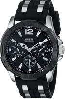 GUESS GUESS? Men's U0366G1 Black Multi-Function Sporty Watch with Silver Interlinks