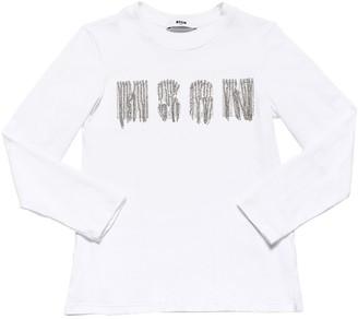 MSGM Embellished L/s Cotton Jersey T-shirt