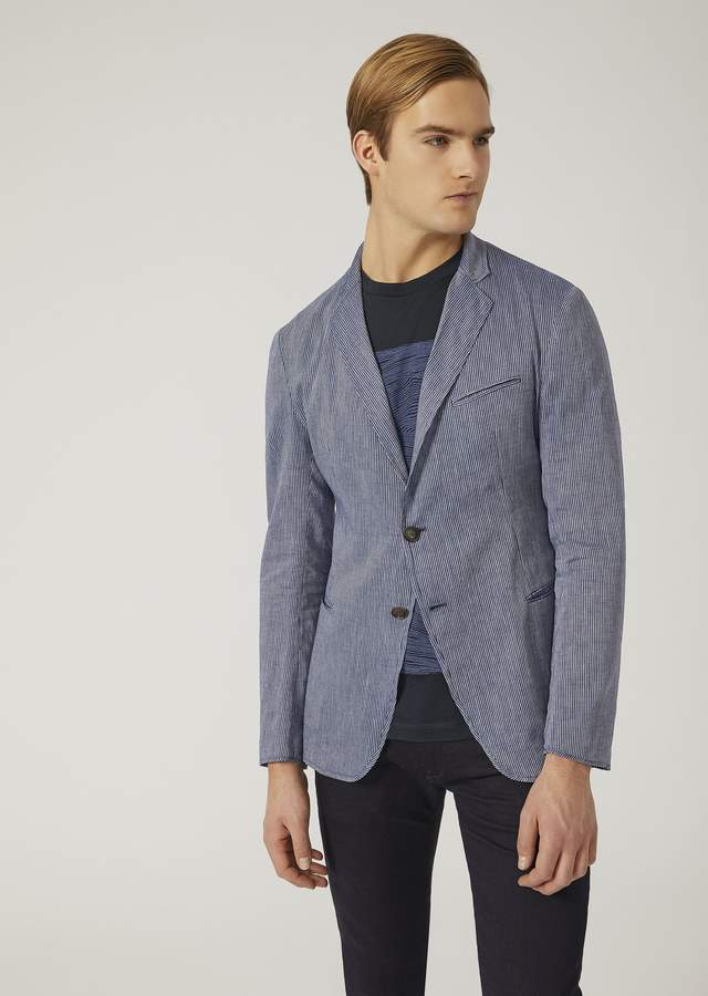 Emporio Armani Single-Breasted Linen Chambray Jacket