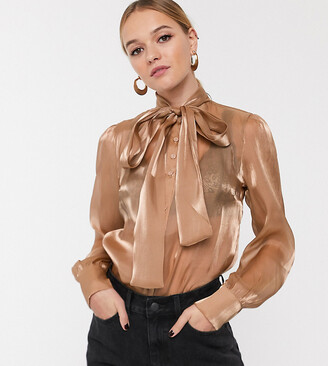 Glamorous relaxed pussybow blouse in sheer organza-Brown