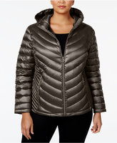 Calvin Klein Plus Size Packable Down Hooded Puffer Coat, Only at Macy's