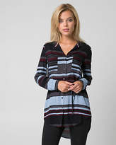 Le Château Stripe Challis Button-Front Tunic Blouse