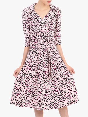 Jolie Moi Revere Collar Tie Front Dress, Pink