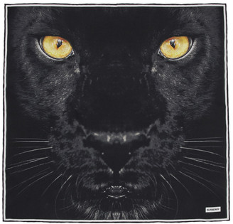 Burberry Black Silk Small Panther Print Scarf