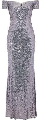 Badgley Mischka Off-the-shoulder Sequined Tulle Gown