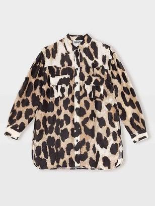 Ganni Silk Linen Shirt Maxi Leopard - 34