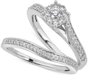 Macy's Diamond Halo & Pave Bridal Set (1/2 ct. t.w.) in 14k White Gold