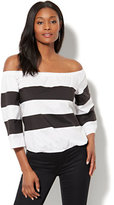 New York & Co. 7th Avenue - Madison Stretch Shirt - Colorblock Off-The-Shoulder