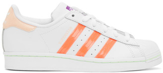 adidas White and Pink Superstar Sneakers