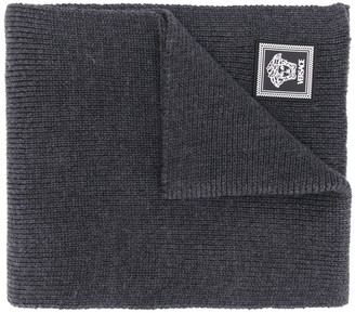 Versace Logo-Patch Wool Scarf